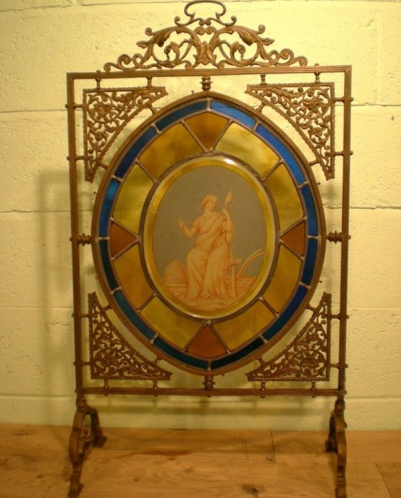 Sold Similar Wanted Original Victorian Bronze Stained Glass Fire Screen Warwick Reclamation