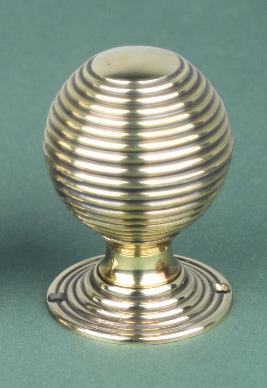 Pair Of Large Antique Solid Brass Beehive Door Knobs / Handles ...