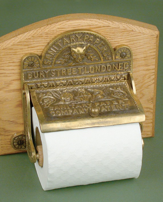 Antique solid brass bury street london toilet roll holder Antique toilet roll holders