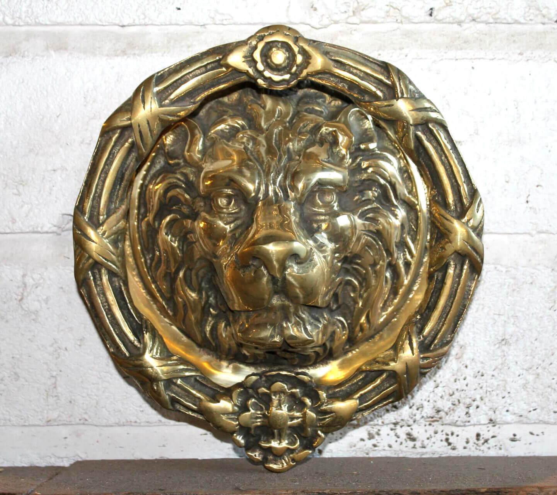 Antique solid brass large lions head door knocker warwick reclamation - Large lion head door knocker ...
