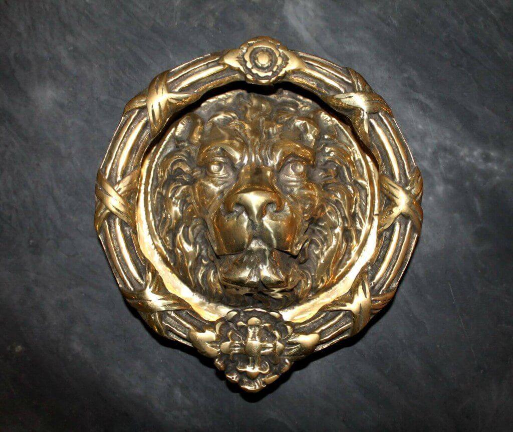 Antique solid brass large lions head door knocker warwick reclamation - Lions head door knocker brass ...