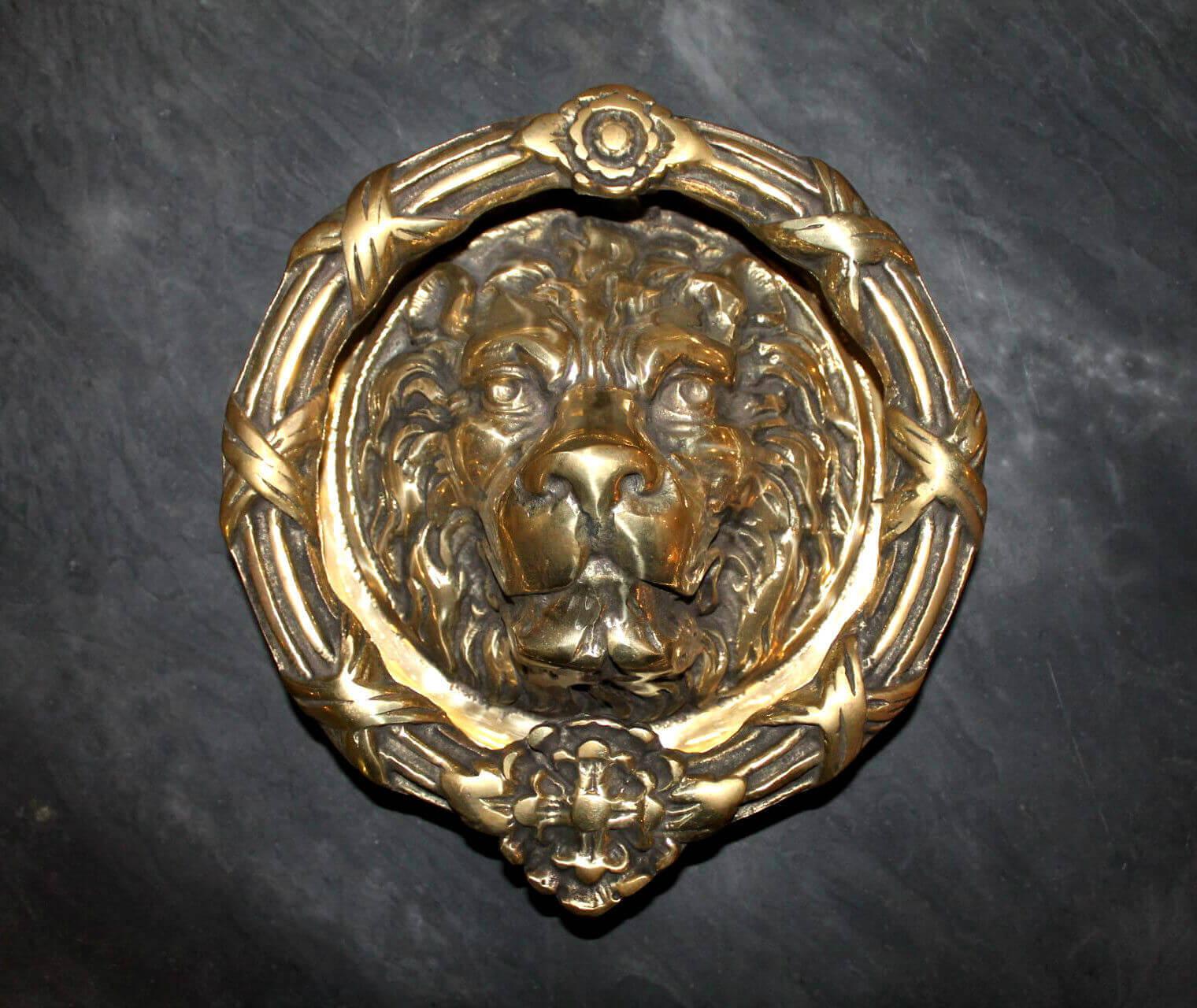Antique solid brass large lions head door knocker warwick reclamation - Antique brass lion head door knocker ...