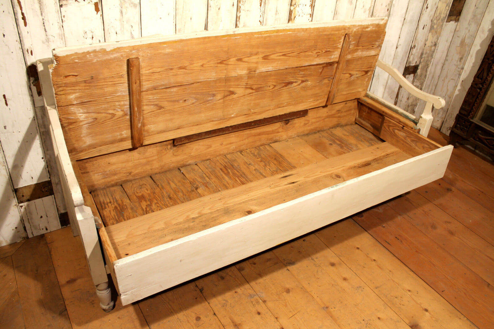 Original 19th Century European Hand Crafted Pine Box Bench