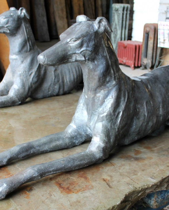 Beau Z* SOLD   SIMILAR WANTED   Pair Of Antique Lead Greyhound Dog Statues    Warwick Reclamation