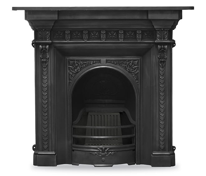 The melrose black cast iron combination fireplace for Victorian corner fireplace