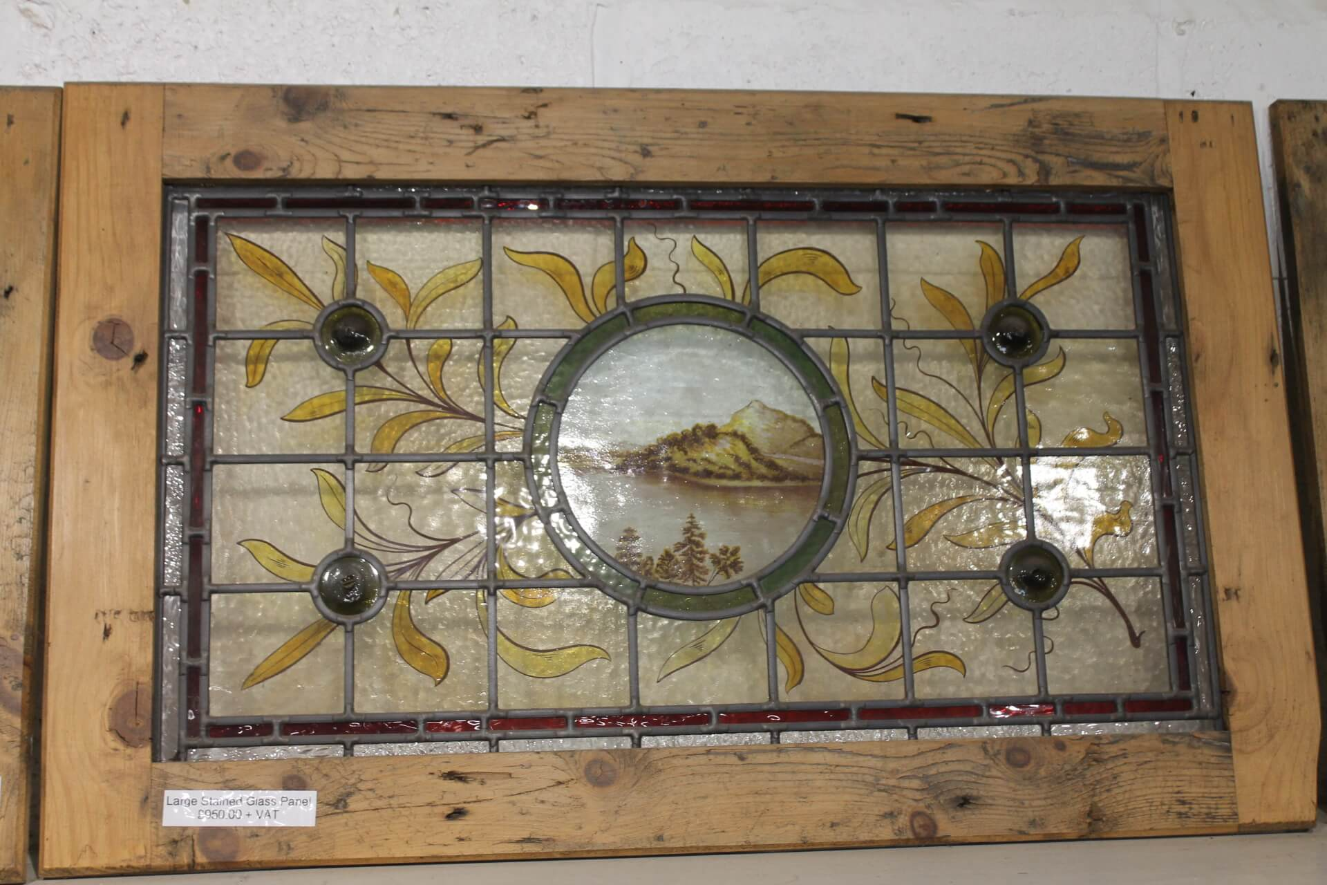 reclaimed large stained glass panel in pine