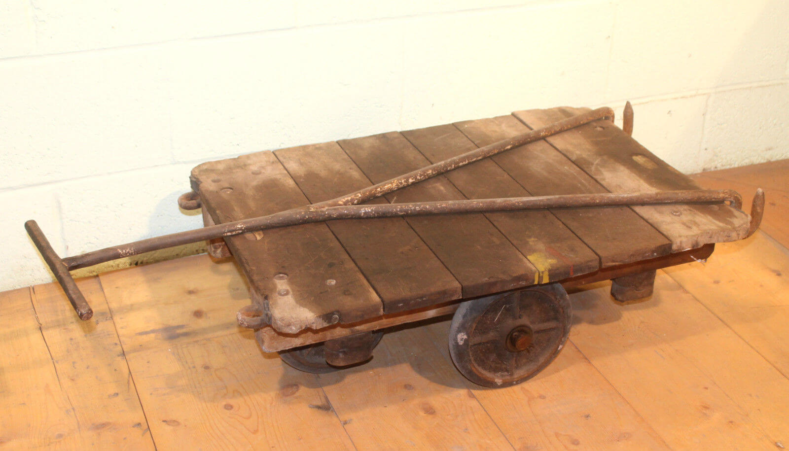 Trolley Coffee Table.Reclaimed Original Antique Victorian Slingsby Trucks Trolley Coffee Table