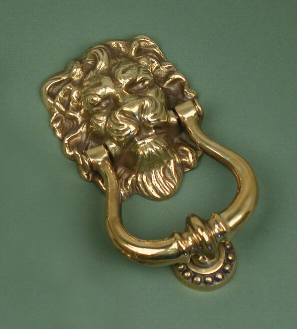 Antique Solid Brass Lions Head Door Knocker