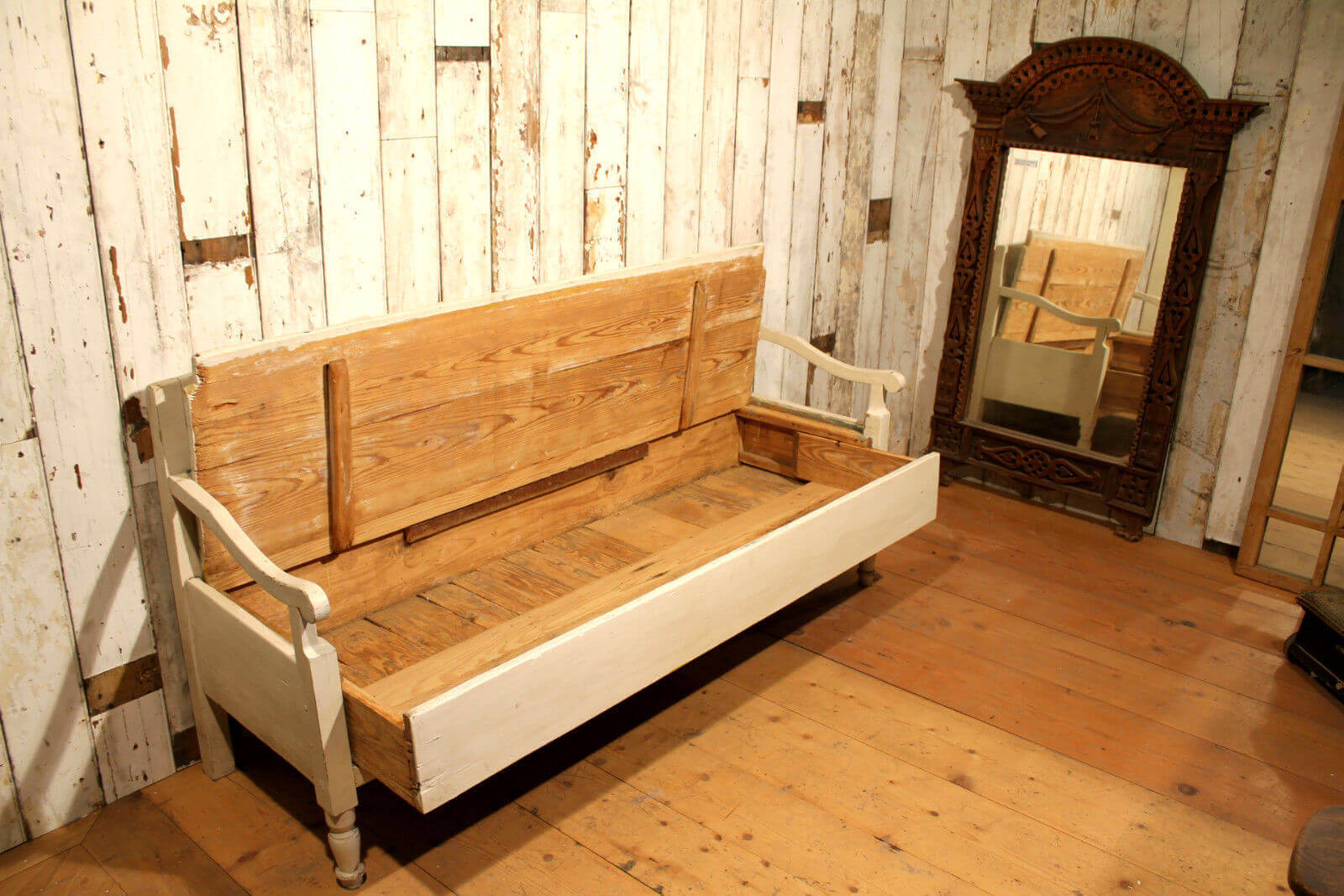 Original 19th Century European Hand Crafted Pine Box Bench