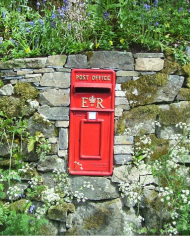 ER Red Post Box In Wall