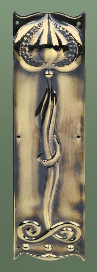 Finger plate Art Nouveau brass